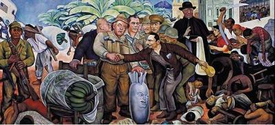 "Diego Rivera's famous mural: ""Gloriosa Victoria"", depicting the Dulles brothers, the American ambassador Peurifoy, and Eisenhower's face on a bomb greeting Castillo Armas. The archbishop of Guatemala blesses their unholy coup while the men stand over the corpses of Guatemalans."