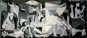Picasso's final piece on Guernica, featuring the horse and bull that was in his sketches at the time but omitting the picador.