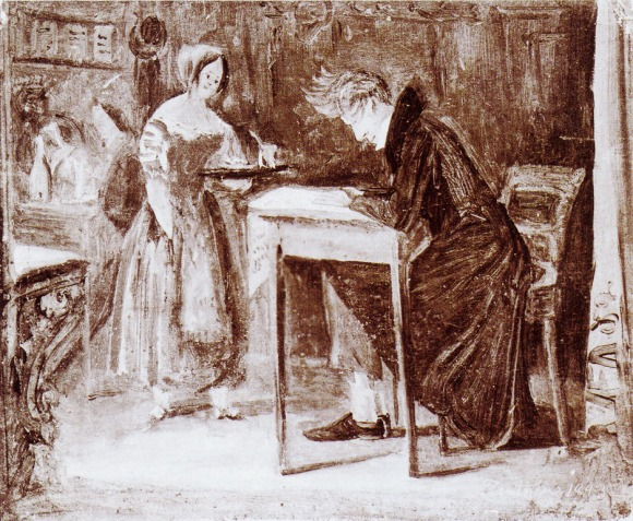 Kierkegaard wrote about overcoming what he called levelling, which is similar to nihilism. Sketch by Christian Olavius Zeuthen.