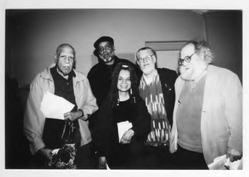Sam Allen, Everett Hoagland, Sonia Sanchez, Dennis Brutus, and Larry Robin